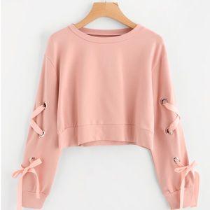 Tops - Eyelet Lace Up Crop Sweatshirt